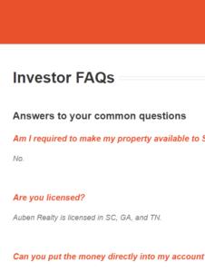 Auben Investor FAQs Links