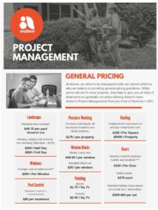 Auben Project Management Pricing Brochure